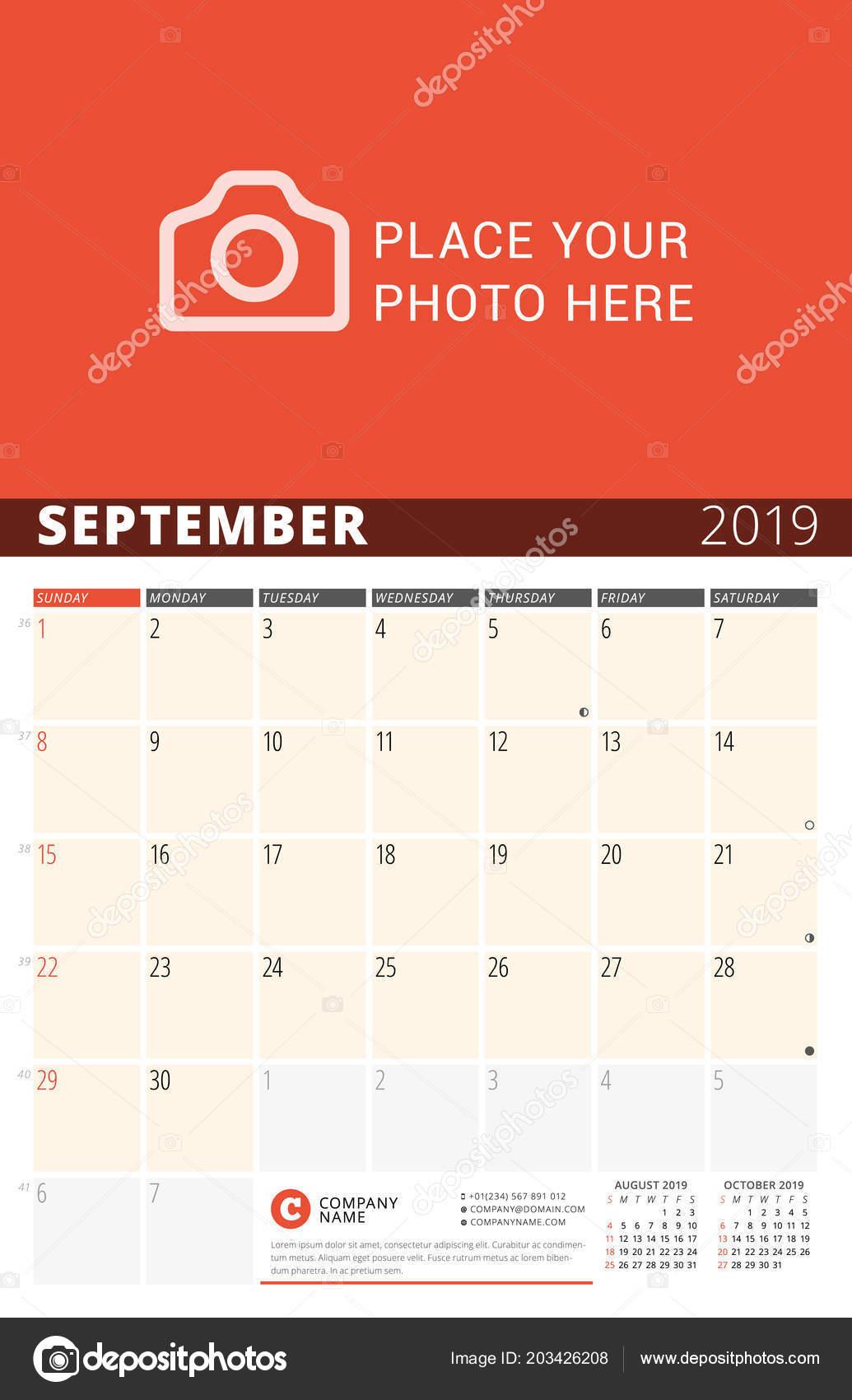 Pagina Di Calendario Settembre 2019.Parete Calendario Planner Anno 2019 Modello Stampa Disegno