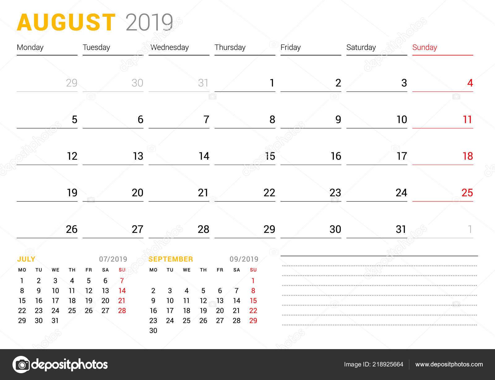 Calendrier Mois Aout 2019.Modele Calendrier Pour Aout 2019 Plan Affaires Conception