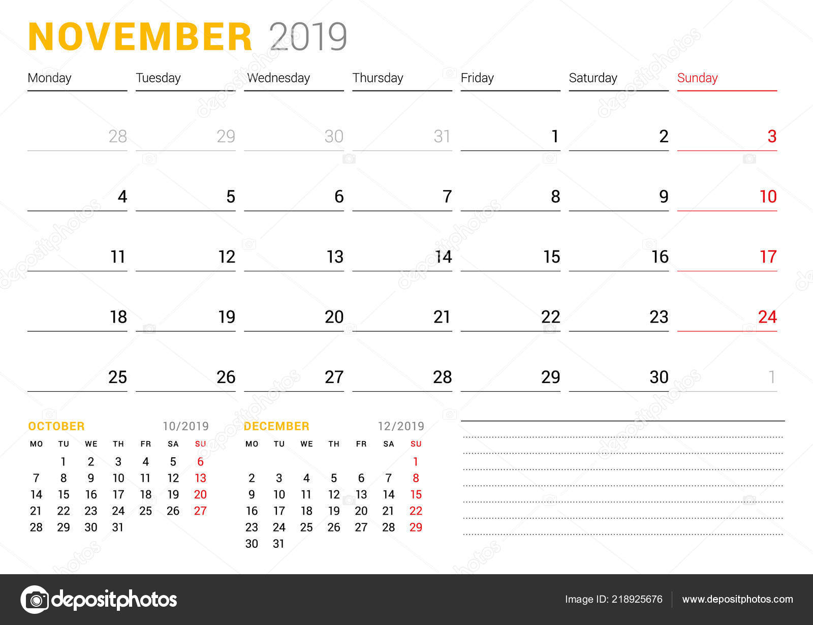 Calendar Template November 2019 Business Planner Stationery Design