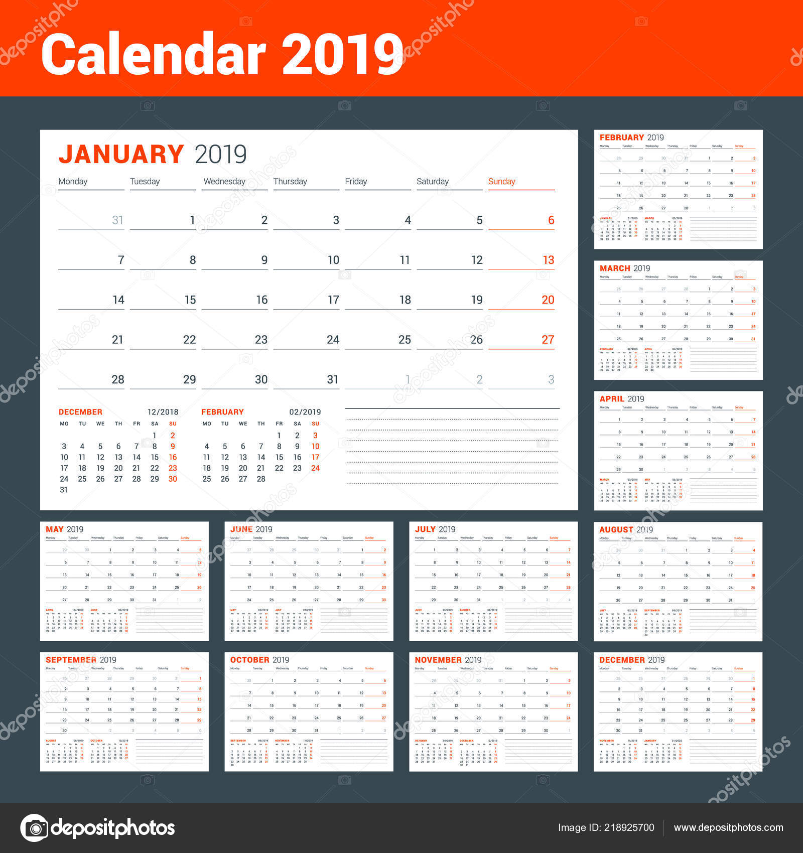 Calendar Template 2019 Year Business Planner Stationery Design Week