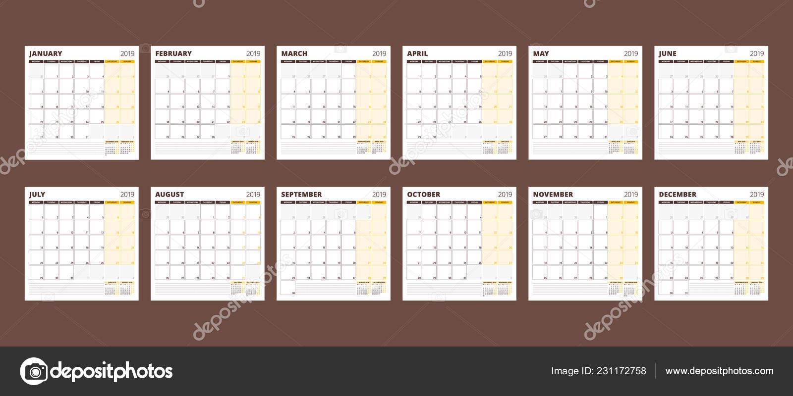 Calendario 2019 Julio Agosto Septiembre.Plantilla Calendario Para Ano 2019 Conjunto Meses Enero