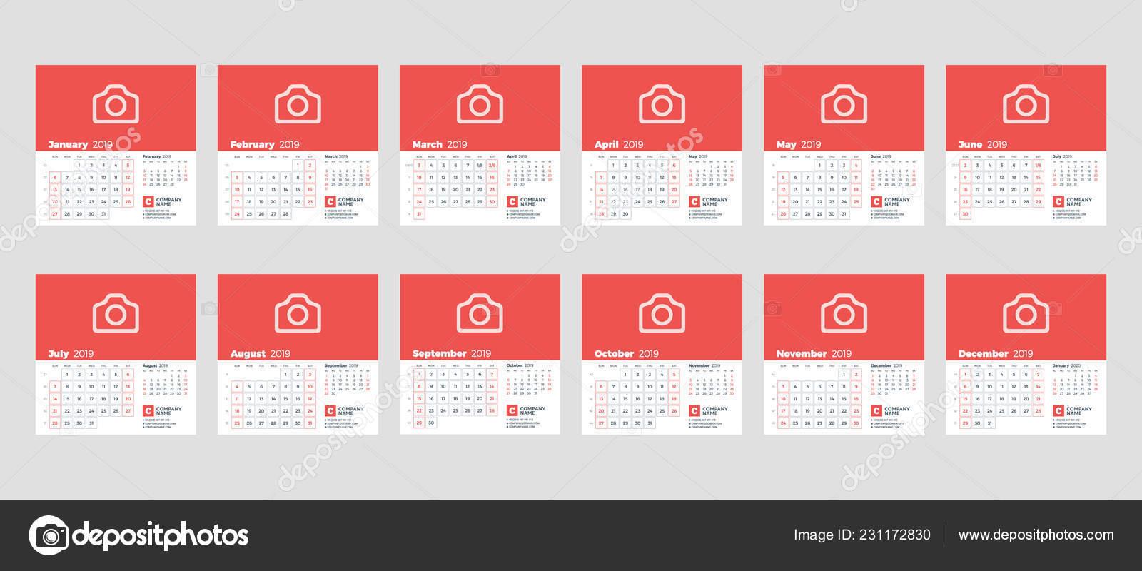 Calendario Giugno Luglio Agosto 2019.Modello Calendario Anno 2019 Set Mesi Gennaio Febbraio Marzo
