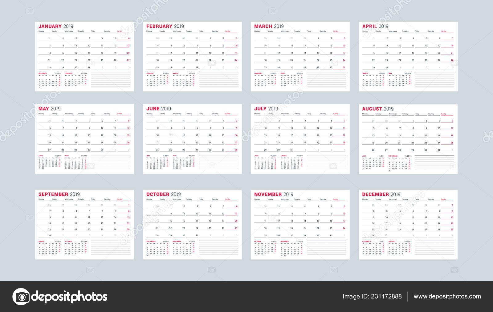 Calendario 2019 Julio Agosto Y Septiembre.Plantilla Calendario Para Ano 2019 Conjunto Meses Enero