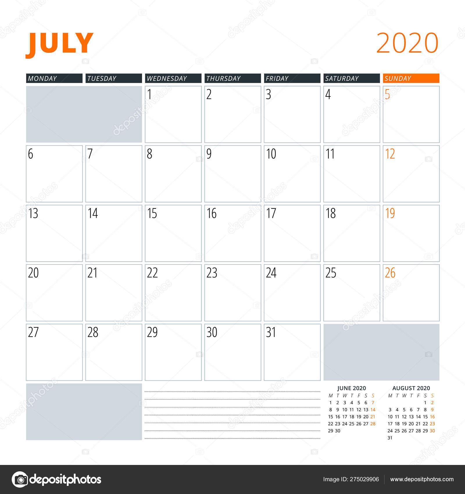 Calendar for July 2020  Stationery design template  Vector