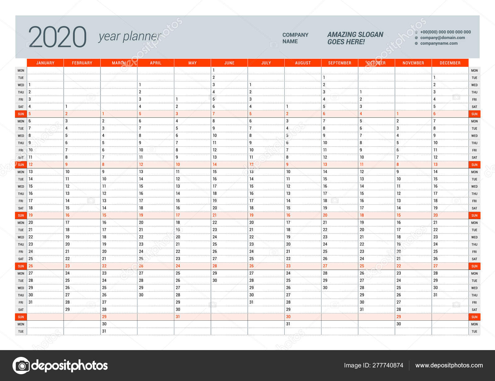 graphic regarding Yearly Planner Template named Wall calendar every year planner template for 2020. Vector