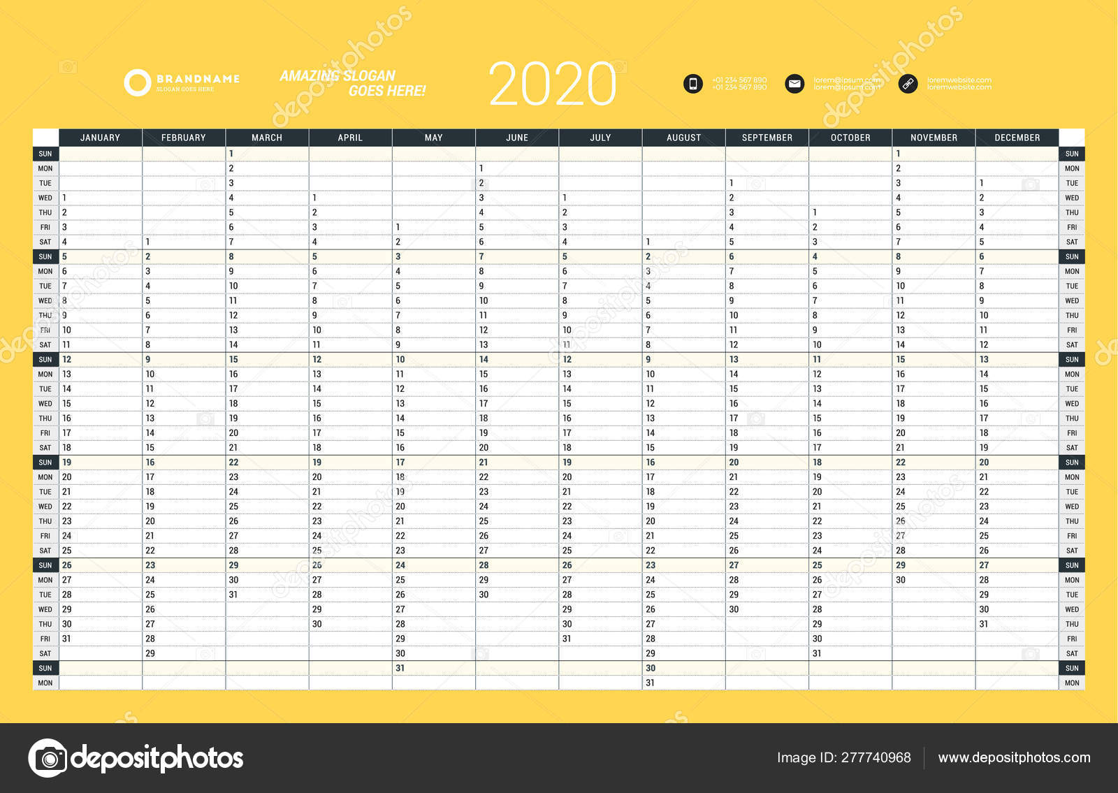 image relating to Yearly Planner Template referred to as Wall calendar every year planner template for 2020. Vector