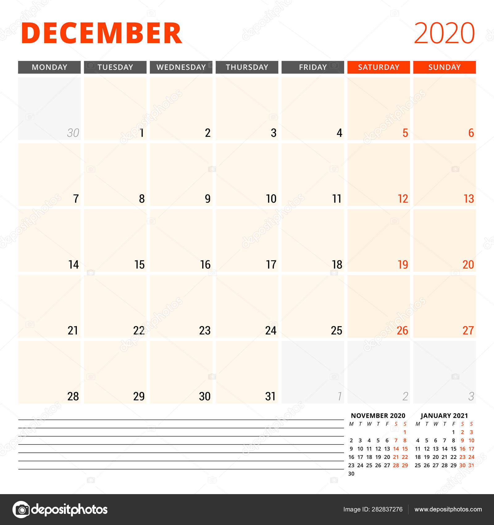 Calendar December 2020.Calendar Planner For December 2020 Stationery Design Template Week