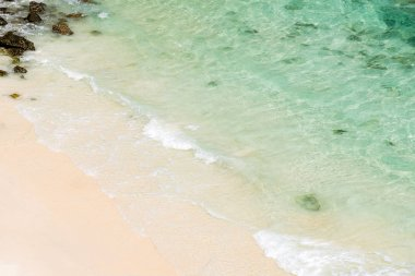 Soft wave of blue ocean on white sand beach at andaman sea, indian ocean, using as Seascape background