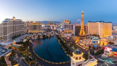 Cityscape of Las Vegas strip Aerial view in Nevada at night USA