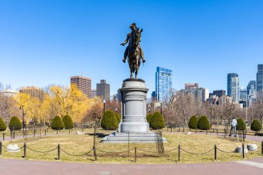 George Washington Statue at Boston Common Park in boston downtown MA USA.