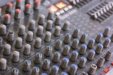 professional mixing console silver color