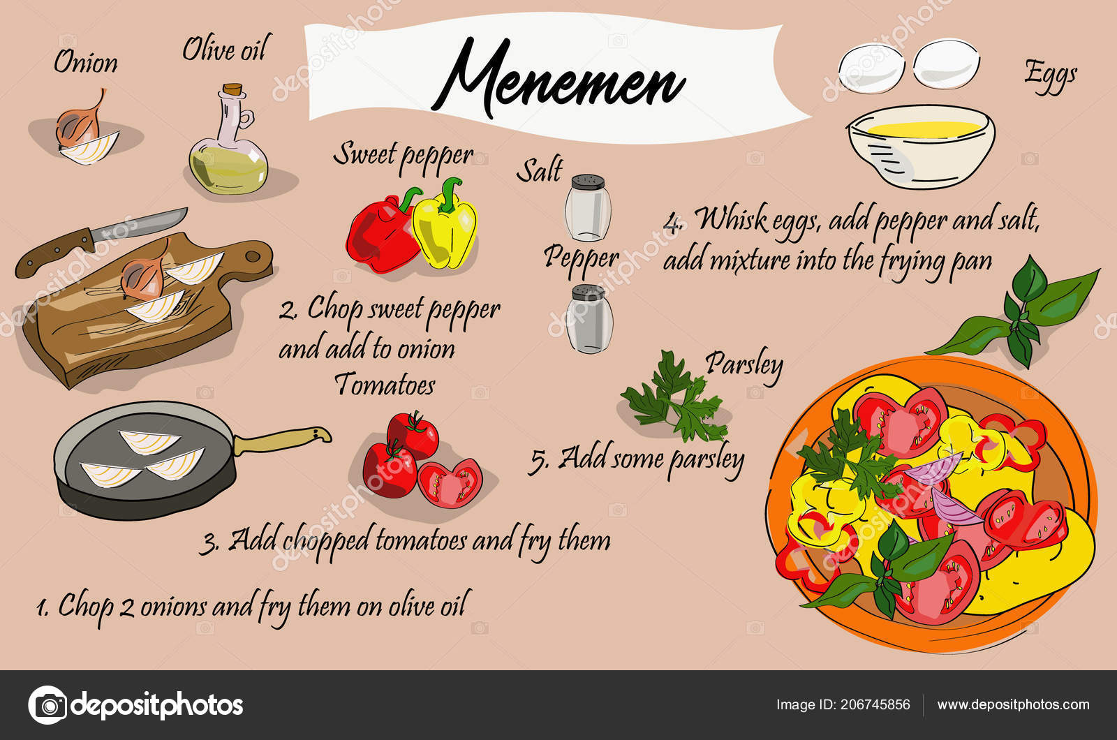 Schritt Für Schritt Rezept Menemen Türkische Küche Omelett Mit ...