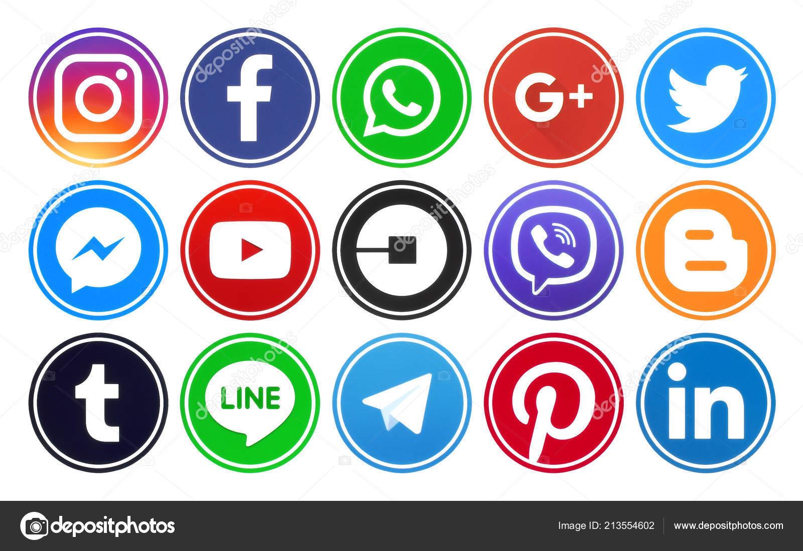 Kiev Ukraine June 2018 Popular Circle Social Media Icons Rim Stock