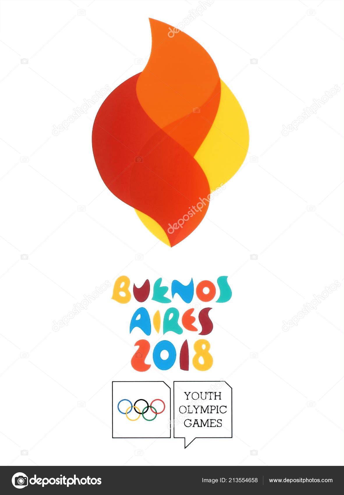 Kiev Ucrania Agosto 2018 Logo Buenos Aires 2018 Impresos Papel