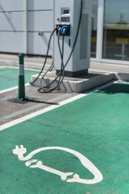 Electric charge station. Electric plug for charging cars. Car ch