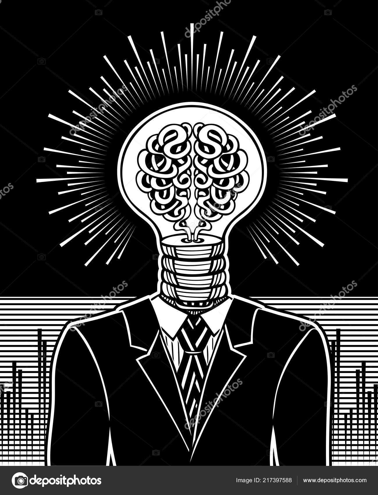 Man Head Form Light Bulb Brain Surrealistic Concept Idea