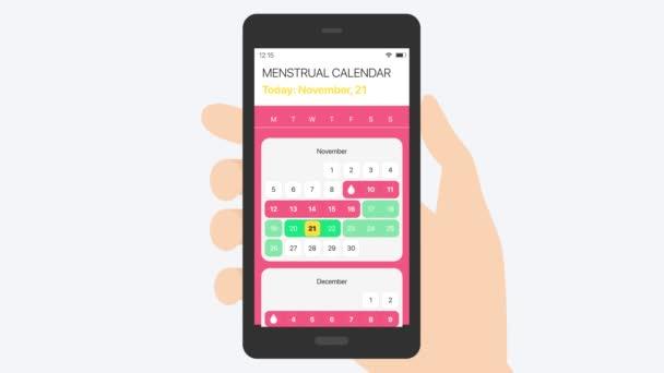 Menstruációs naptár (kedvező dátum). Sexology 2D animáció