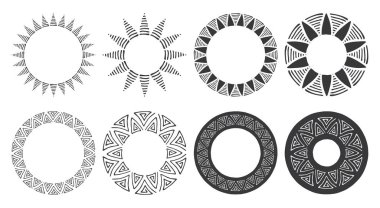 Set of hand drawn round frames. Tribal and geomeric decorative design elements. Circle ornaments. Hand drawn clip art.