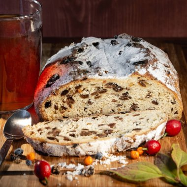Traditional German Autumn and Christmas cake, berries and tea as still-life, closeup, details, Autumn theme