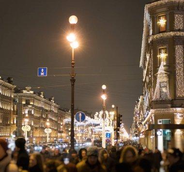 Nevsky Prospekt in St. Petersburg, Russia, at evening.