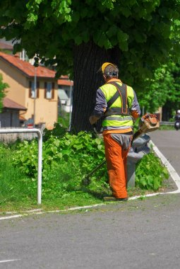 Male worker cutting lawn by using electric grass trimmer.
