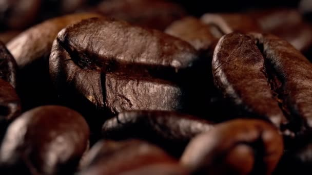 Macro view of freshly roasted coffee beans.