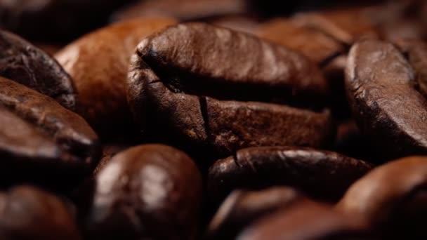 Macro view of freshly roasted coffee beans.