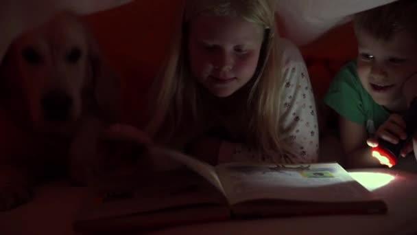 šťastný život s domácí zvířata - malé děti v noci čtení knihy pod přikrývkou s jejich velký pes