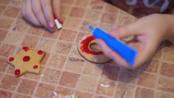 home video - happy kids making cookies at home in the kitchen