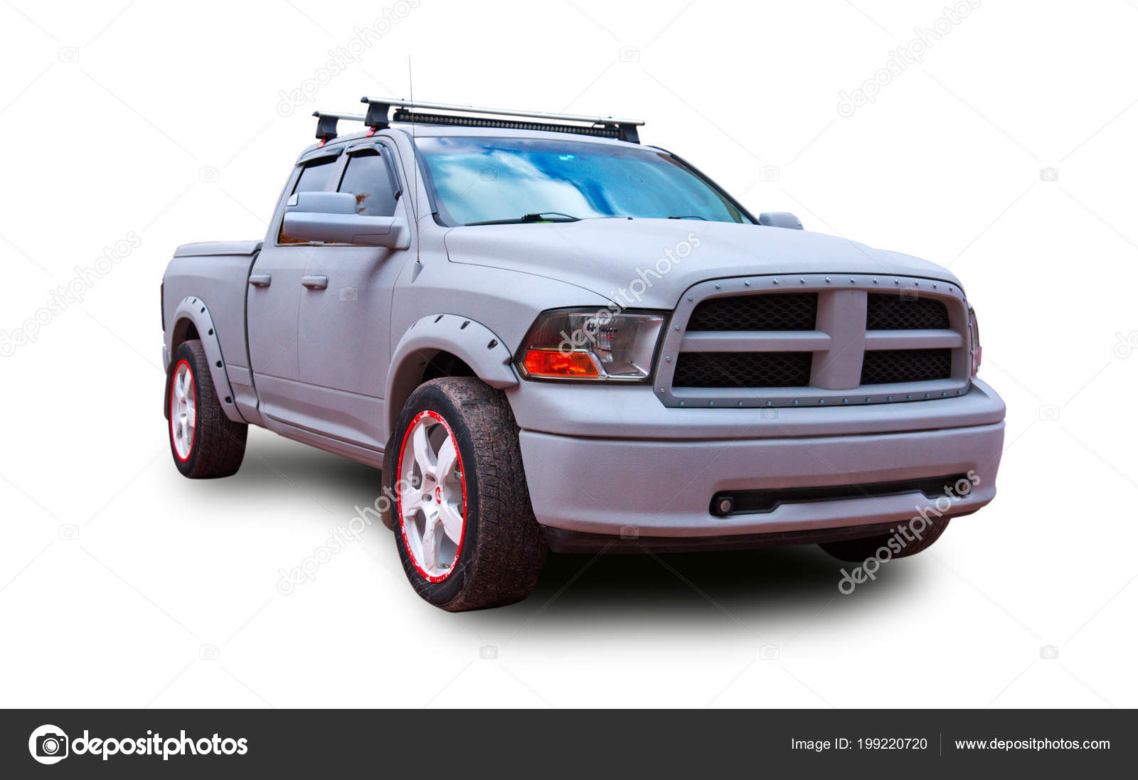 American Pickup Truck White Background Stock Editorial