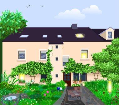 Vector cartoon illustration of a beautiful summer house and garden