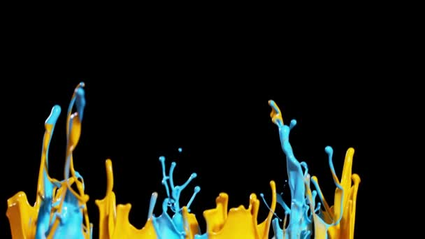 Super slow motion of dancing colours shapes isolated on black background.