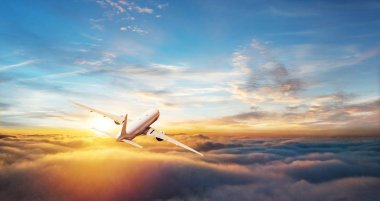 Back view of commercial airplane flying above clouds. Copyspace for text stock vector