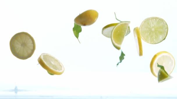 Super-Zeitlupe fallender Limetten- und Zitronenstücke auf weißem Hintergrund. Gefilmt mit High-Speed-Kinokamera, 1000 fps.