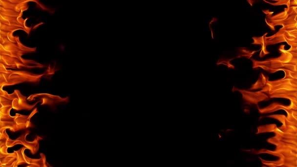 Super zpomalené oheň rámu izolované na černém pozadí. Natočeno na vysokou rychlost fotoaparátu, 1000 fps