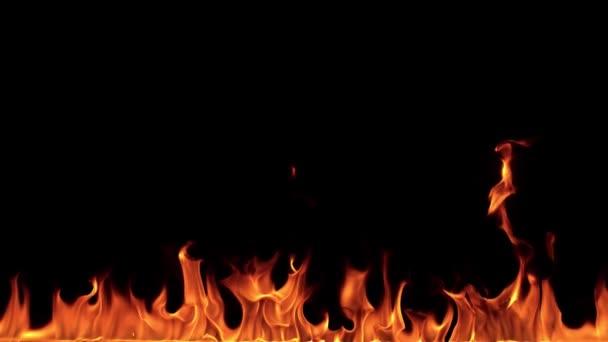 Super zpomalené ohňům izolované na černém pozadí. Natočeno na vysokou rychlost fotoaparátu, 1000 fps