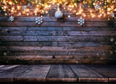 Decorative Christmas rustic background with wooden planks. Free space for text. stock vector