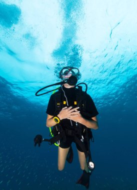 Young woman scuba diver. Underwater sport and leasure activities.
