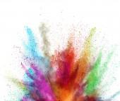Multi barevné exploze prášek na bílém pozadí