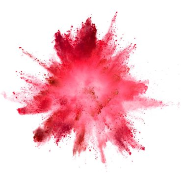 Explosion of red powder on white background