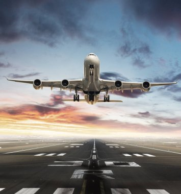 Huge two storeys commercial jetliner taking of runway. Modern and fastest mode of transportation. Dramatic sunset sky on background stock vector