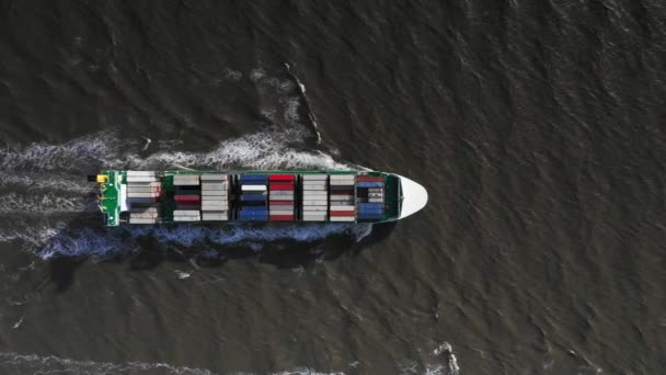 Aerial view of huge container cargo ship