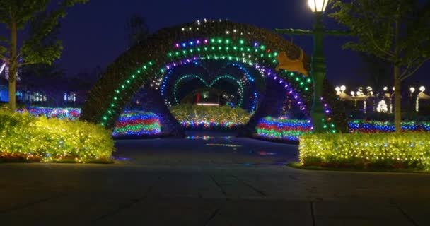 Street festival decoration with colorful Christmas LED lights for new year holidays