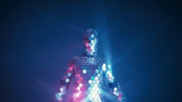 Někdo dělat jógu fitness cvičení v obleku futuristické zrcadlo pod neonová světla. Budoucí koncepce. Autentický snímek