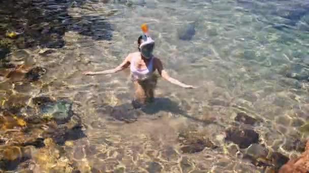 junge Frau schnorchelt im blauen tropischen Wasser und trägt weißen Badeanzug