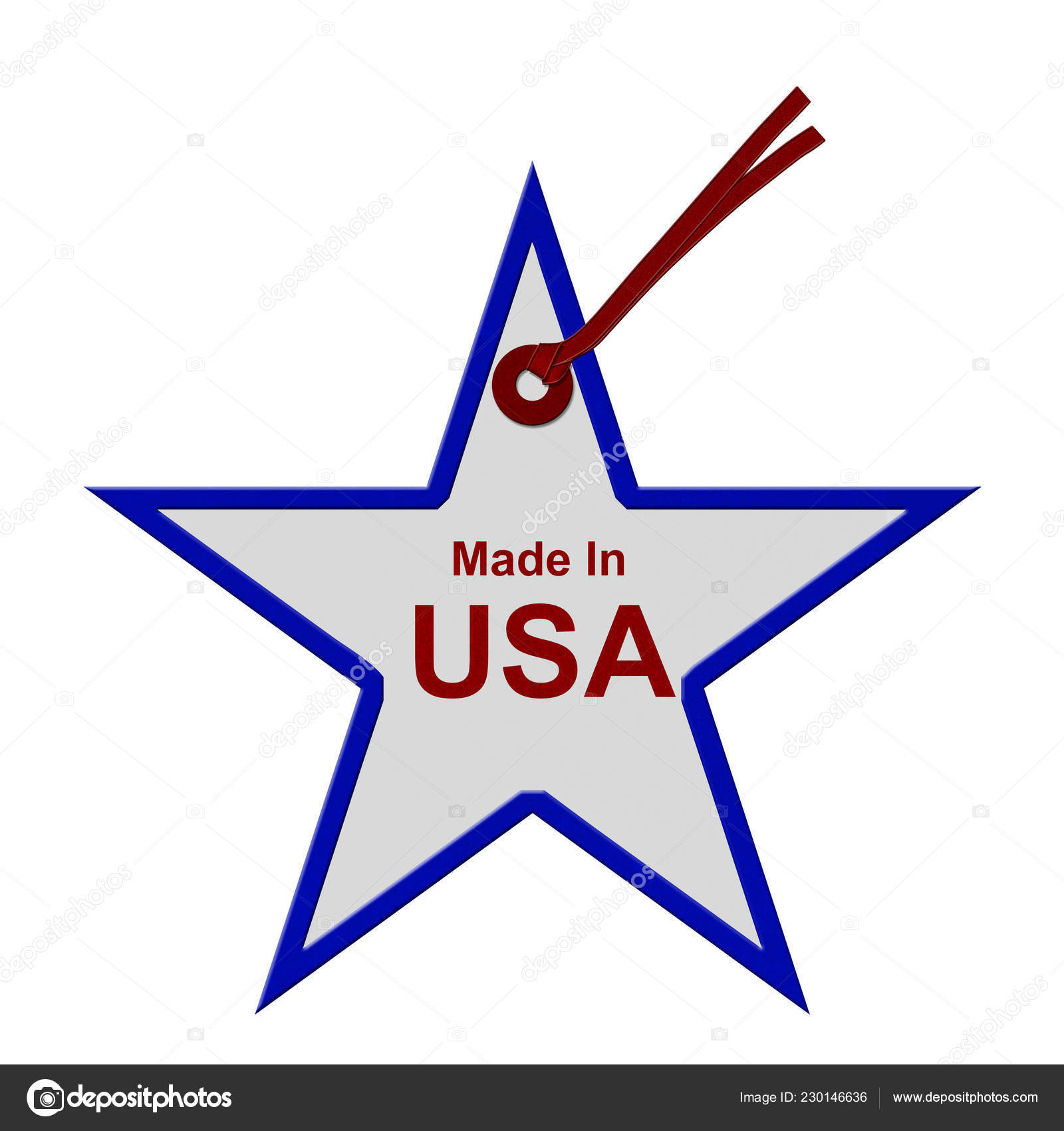 07539192eb6d7 Red White Blue Star Shaped Gift Tag Words Made Usa — Stock Photo ...