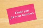 Danke für Ihren Geschäftstext auf rosa Karte