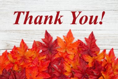Thank you message with red and orange fall leaves on weathered w