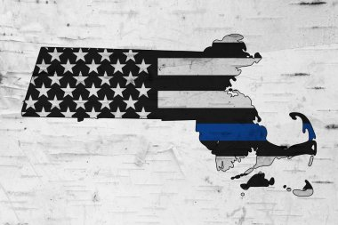 American thin blue line flag on map of Massachusetts for your support of police officers stock vector