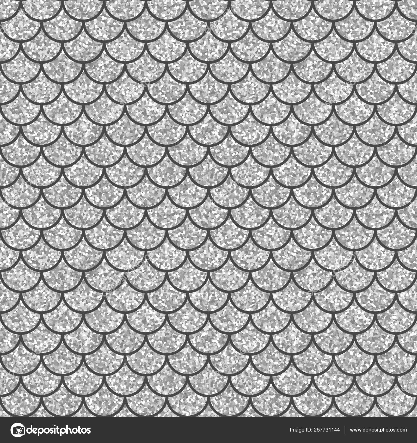 Silver glitter squama texture. Sparkle vector background. White scales seamless pattern for your design